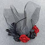 Обруч з чорними та червоними трояндами до Хеловіну, фото 2