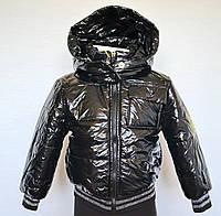Детская куртка бомбер унисекс 4-7 лет, черная лаковая, весна-осень