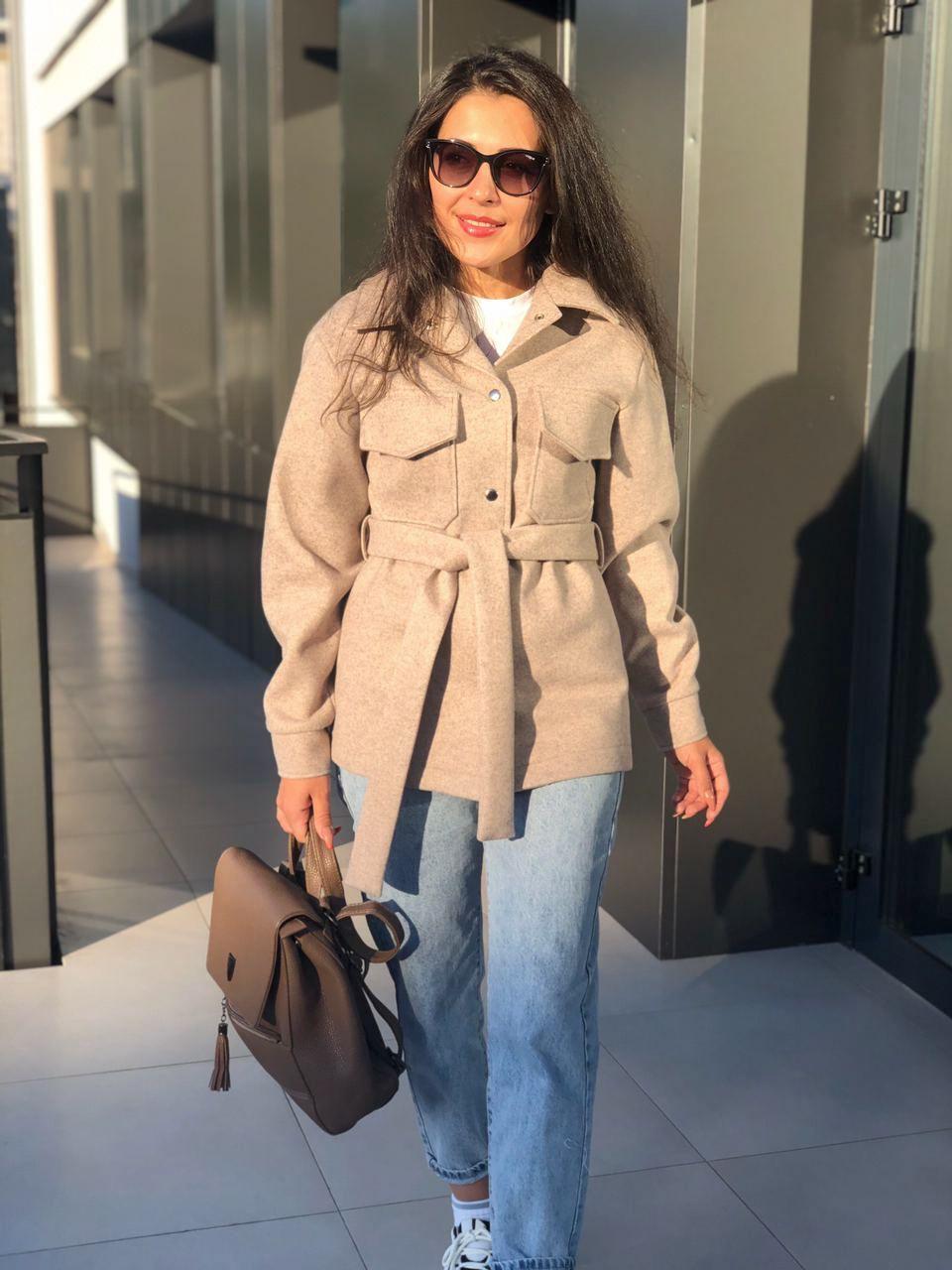 Пальто рубашка женское бежевое