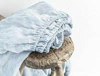 Простирадло з 100% пом'якшеного льону на резинці, Melange Blue, 160*200*20-30 см, фото 1