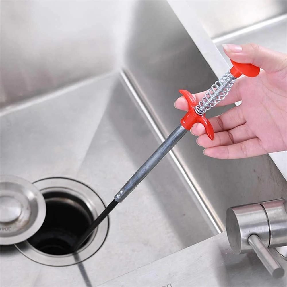 Трос для чищення труб каналізації №2 60 см, інструмент для прочищення засмічень раковини