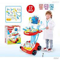 Детский игровой набор доктора с тележкой и инструментами Metr+ 660-45-46 красный