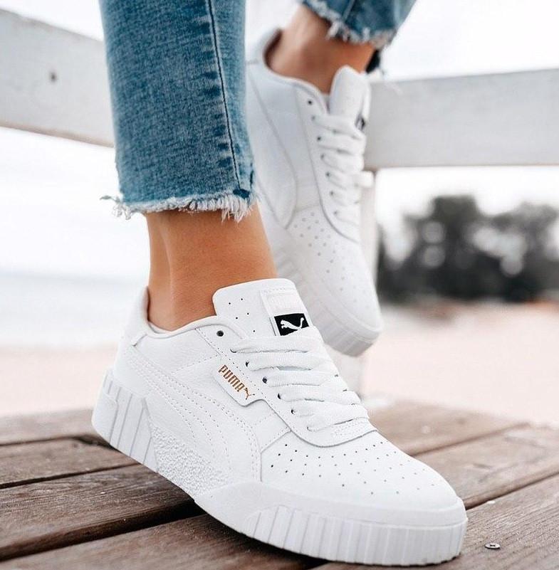 Женские кроссовки Puma Cali Leather Trainers Ladi White белые осень-весна. Живое фото. Реплика