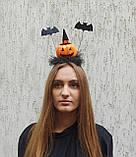 Обруч з гарбузом та летючими мишами для дівчаток до свята Хеллоуїну, фото 3