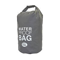 Гермомешок для воды на плечо Water Proof BAG Серый 15 л, водонепроницаемый мешок для вещей, фото 1