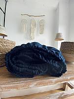 Простынь из 100% вареного льна на резинке, Navy Blue, 160*200*20-30см, фото 1