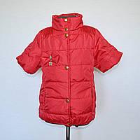 Детская демисезонная жилетка для девочек 5-8 лет, красного цвета