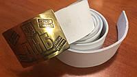 Ремень ДМБ белый кожаный армейский с пряжкой латунь, 110 см и др.