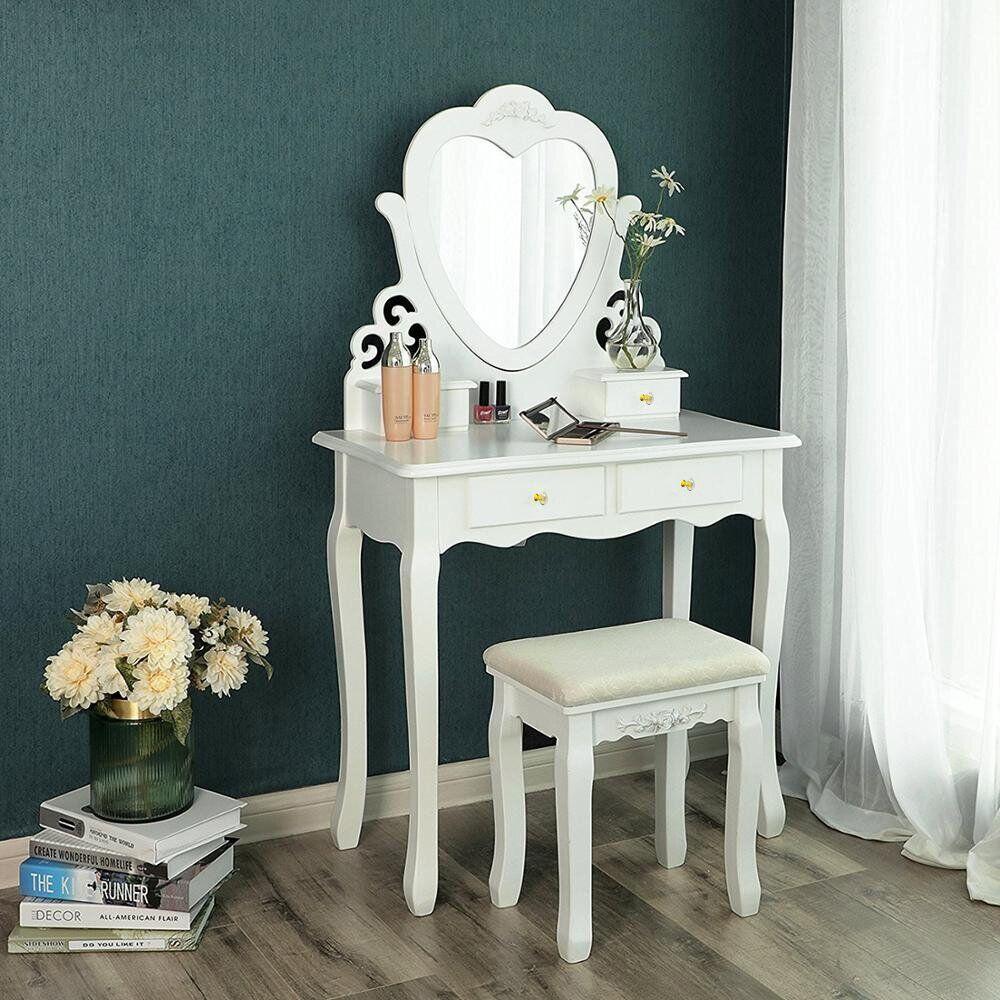 Столик туалетный Bonro B006W белого цвета с зеркалом и стульчиком