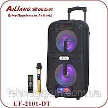 Беспроводная колонка чемодан Ailiang UF-2101, активная акустика, комбоусилитель + пульт и 2 микрофона