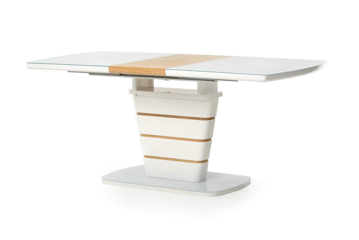 Стол обеденные МДФ + стекло TM-59 белый + дуб, раскладной