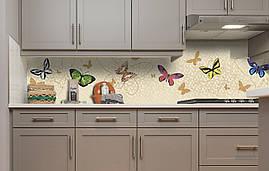 Виниловый кухонный фартук Яркие бабочки самоклеющаяся пленка ПВХ скинали 3Д мотыльки Животные Бежевый 600*2500
