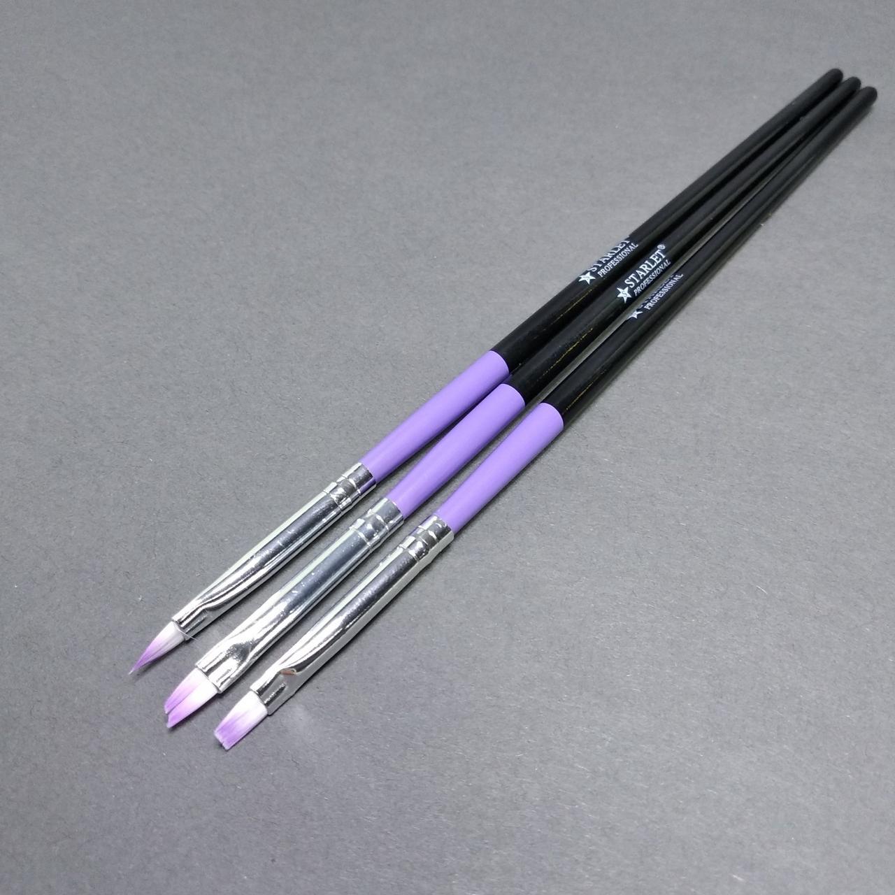 Набор кистей для китайской росписи и дизайна ногтей Starlet Professional 3шт