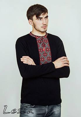 Чоловіча вишиванка Козацька червона з довгим рукавом