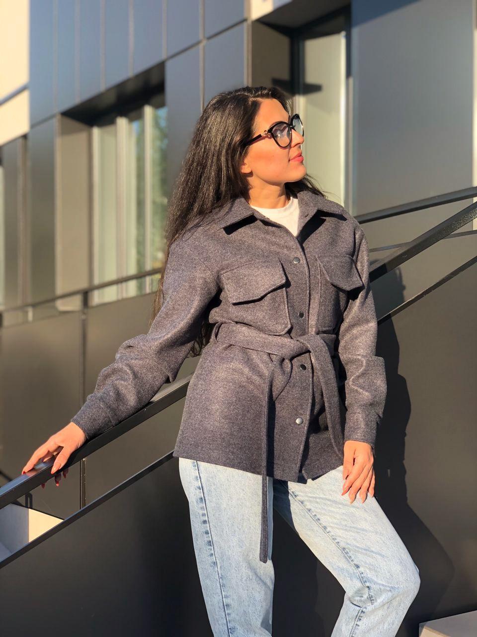 Пальто рубашка женское графит