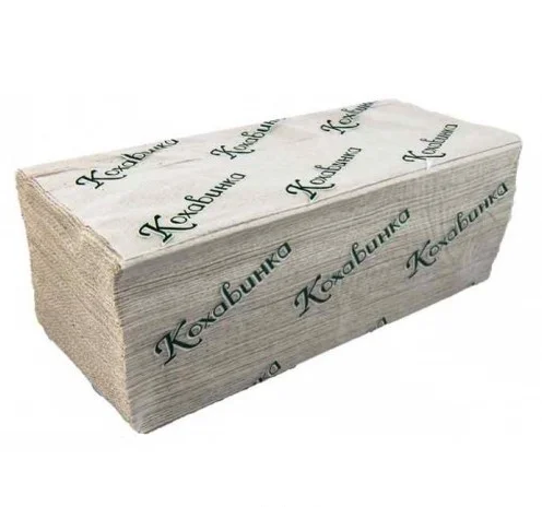 Полотенце бумажное листовое серое V сложением макулатурное 170 шт 1сл ТМ Каховинка