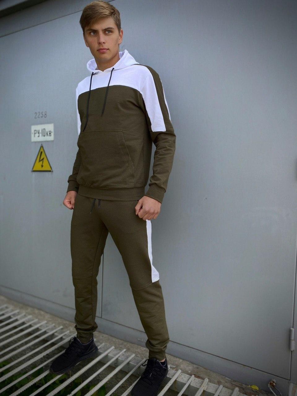 Мужской спортивный костюм хаки - белый Spirited Intruder Кофта худи + штаны размер S M L XL XXL