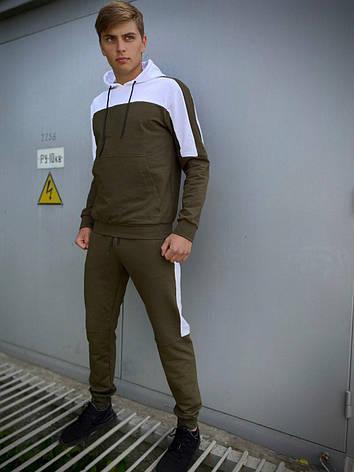 Мужской спортивный костюм хаки - белый Spirited Intruder Кофта худи + штаны размер S M L XL XXL, фото 2