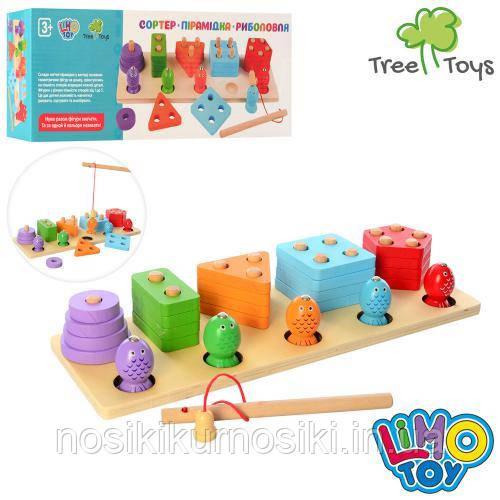 Деревянная игрушка 2в1 геометрическая пирамида логика 5 фигур плюс рыбалка MD 2177