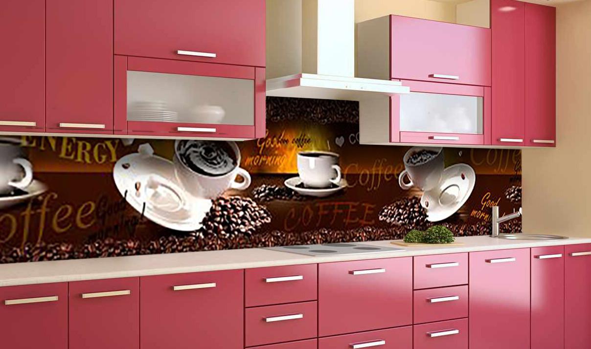 Виниловый кухонный фартук Любовь Кофе (самоклеющаяся пленка ПВХ скинали 3Д) чашки зерна Напитки Коричневый 600*2500 мм