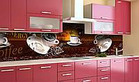 Виниловый кухонный фартук Любовь Кофе (самоклеющаяся пленка ПВХ скинали 3Д) чашки зерна Напитки Коричневый 600*2500 мм, фото 1