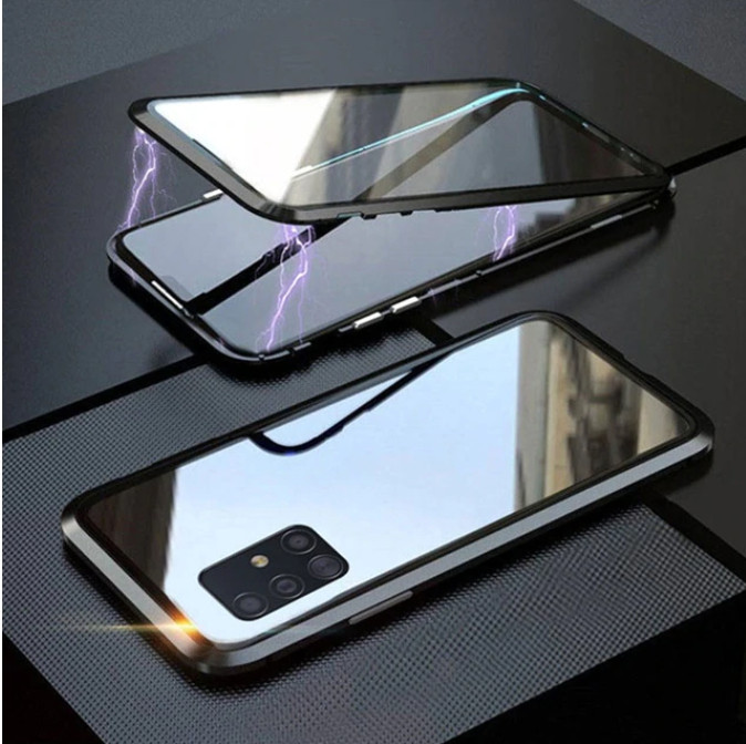 Магнитный чехол со стеклянной передней и задней панелью для Samsung Galaxy S20