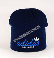 Шапка Adidas синяя, подклад из флиса