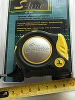 Рулетка  S-line , обрезиненый корпус, автофиксатор, магнит, нейлон. покрытие 3 м /16 мм