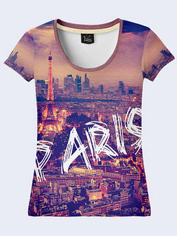 Женская футболка с принтом Вечерний Париж