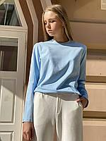 Кофта жіноча лонгслив з довгим рукавом з бавовни блакитна M