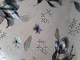 Мягкое стекло Скатерть с лазерным рисунком Soft Glass 1.2х0.8м толщина 1.5мм Серебристые цветы, фото 2