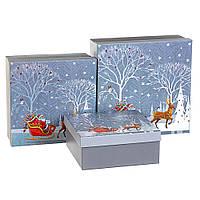 """Новогодние подарочные коробки """"Зима"""" набор 3 шт. Большие (28х28х10 см), фото 1"""