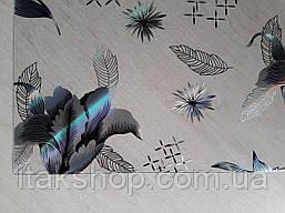 Мягкое стекло Скатерть с лазерным рисунком Soft Glass 1.4х0.8м толщина 1.5мм Серебристые цветы, фото 3