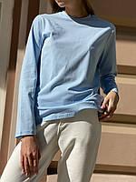 Кофта жіноча лонгслив з довгим рукавом з бавовни блакитна L