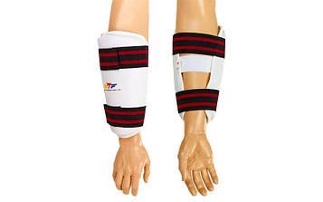 Захист для тхеквондо рук (передпліччя) PU WTF (р-р S-XL, білий, кріплення на липучках)