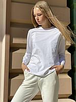 Кофта жіноча лонгслив з довгим рукавом з бавовни біла S