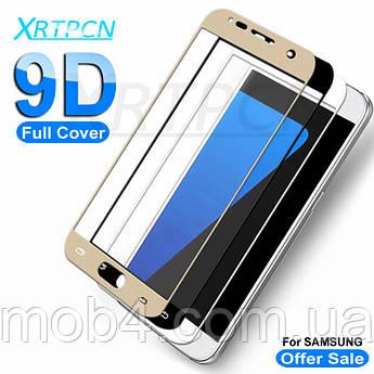 Защитное стекло для Samsung Galaxy (Самсунг) J7 на весь экран (чёрное, белое, золото)