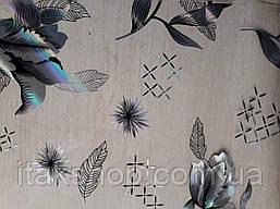Мягкое стекло Скатерть с лазерным рисунком Soft Glass 1.7х0.8м толщина 1.5мм Серебристые цветы, фото 2