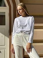 Кофта жіноча лонгслив з довгим рукавом з бавовни біла M