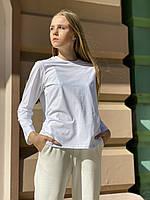 Кофта жіноча лонгслив з довгим рукавом з бавовни біла L