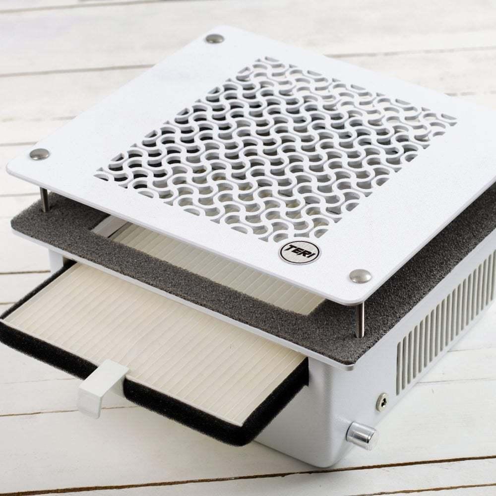 Маникюрная вытяжка встраиваемая в стол Teri 600 с HEPA фильтром, сетка белая пластиковая