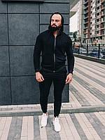 Спортивный костюм мужской весенний осенний черный качественный стильный без логотипа, фото 1