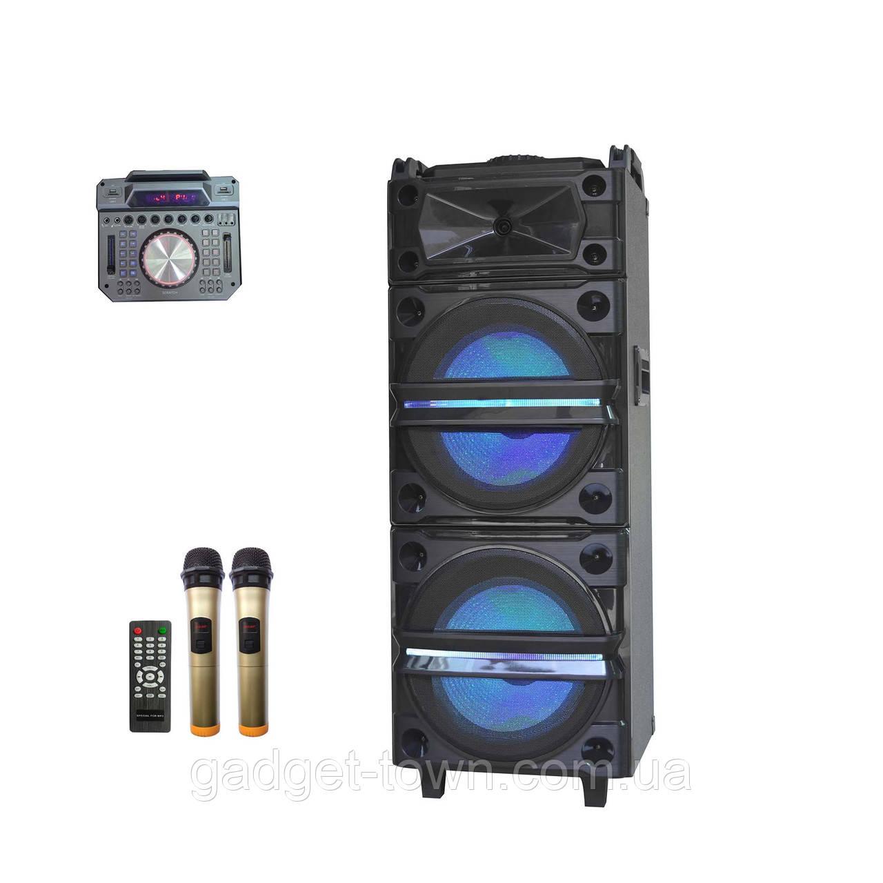 Колонка акумуляторна з Діджей Мікшером DJ-1035 + 2 радіомікрофона (400W/USB/BT/FM)