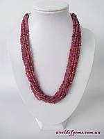 Ожерелье из натурального камня рубин, серебро 925