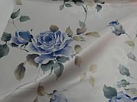 Ткань шторная, голубая роза