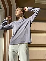 Кофта жіноча лонгслив з довгим рукавом з бавовни сіра L