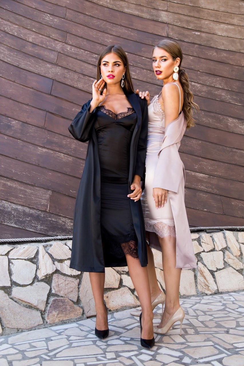 Сукня комбінація жіноча шовкове з мереживом міді AniTi 097, бежевий