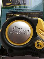 Рулетка S-line, обрезиненый корпус, автофиксатор, магнит, нейл. покрытие 5м/19мм