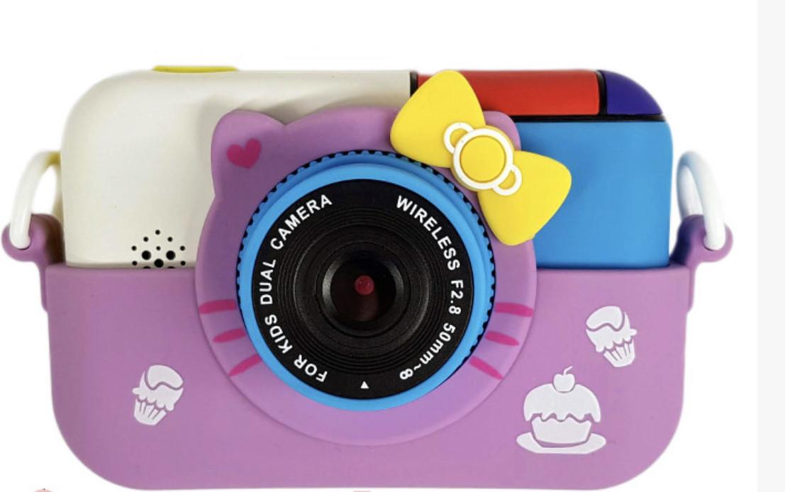 Детский цифровой фотоаппарат Smart Kids TOY G 6 Hello Kitty Purple 2 камеры 28MP Full HD 1080P
