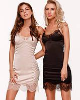 Платье комбинация женское шелковое с кружевом мини AniTi 098, черный